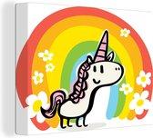 Een illustratie van een eenhoorn met een regenboog canvas 80x60 cm - Foto print op Canvas schilderij (Wanddecoratie woonkamer / slaapkamer) / Wilde dieren Canvas Schilderijen