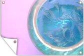 Glazen pot met haargel op een roze achtergrond 60x40 cm
