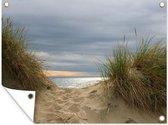 Noordzee achter de duinen tuinposter 80x60 cm - Tuindoek / Buitencanvas / Schilderijen voor buiten (tuin decoratie) / Zee en Strand