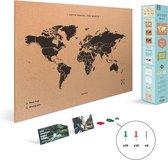 Miss Wood Wereldkaart Kurk 90 X 60 Cm Zwart