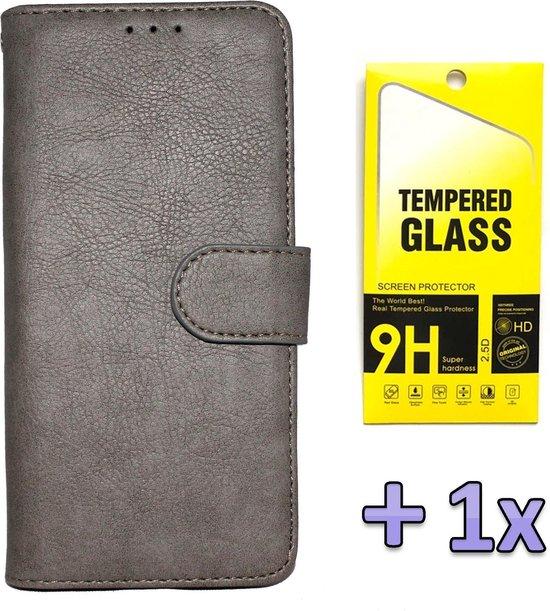Samsung Galaxy A41 Hoesje Grijs - Hoge Kwaliteit Portemonnee Book Case & Glazen Screenprotector