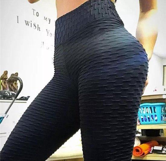 Sportlegging-Olamee-Absorberend-Yoga -Legging Fitness-Scrunch Butt-High Waist-Anti Cellulite Legging-Gym Sports Wear-Mooie Billen-Zwart-M
