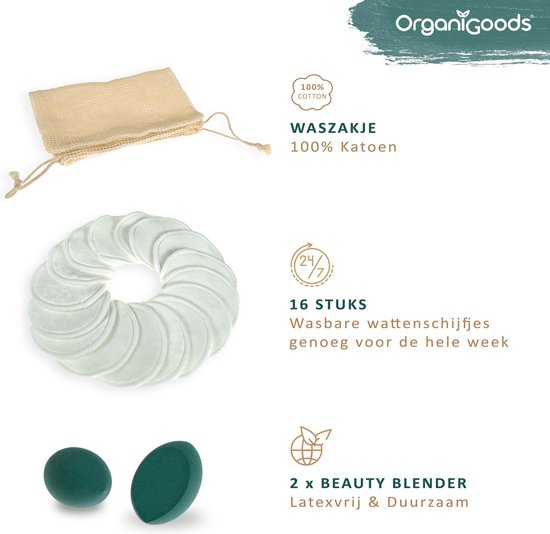 OrganiGoods 16x Herbruikbare Wattenschijfjes – Wasbare Wattenschijfjes – 2x Beauty Blender – Make Up Pads Zero Waste – Bamboe