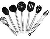 Keukengerei set 7-delig | stainless steel, RVS, silicone | keukenbenodigdheden | compleet set | garde opscheplepel soeplepel schuimspaan spatel pastalepel tang | bakgerei kookgerei