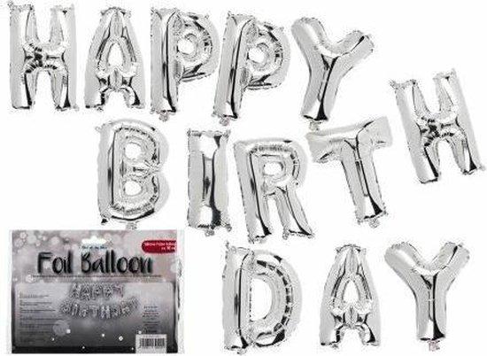 folieballonnen Happy Birthday zilver ballon verjaardag versiering