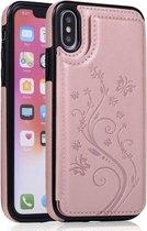 Apple iPhone XR Card Case | Roze | Bloemen | PU Leer | Kaarthouder