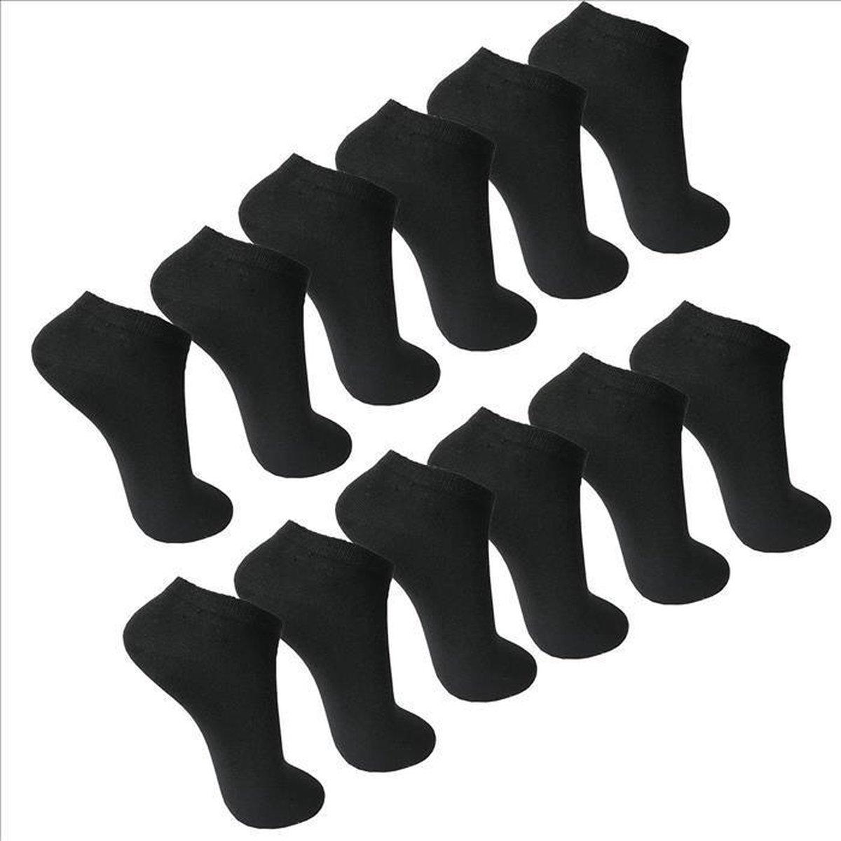 6 Paar Enkel Sokken Sneaker Socks © Maat 39/42 Kleur Zwart Multipack Unisex Maat 39/42 - Effe Zwart