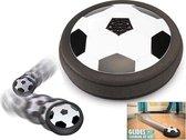 Air Powered Soccer Voetbal Met LED Verlichting - Indoor Hover Ball Air Power Football Disc Schijf  - Airvoetbal Luchtvoetbal Voor Binnen Te Spelen =- Zwart/Wit