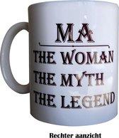 Moederdag geschenk   moederdag cadeautje set   Ma, The Woman, The Myth, The Legend theemok   Met sticker en vlaggenprikkers