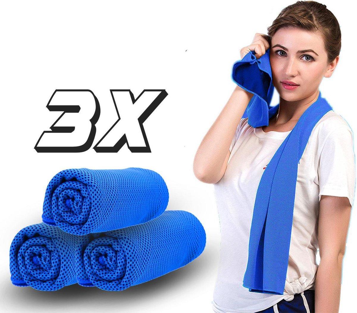 Set van 3 - Verkoelende Sporthanddoek - Handdoek - Blauw - Microvezel - Gym - Fitness   Handdoek - Y
