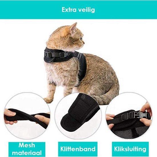 Zootic Kattenharnas met leiband - Kattentuigje - Zwart - Halsomvang 20 tot 26 cm - Borstomvang 30 tot 34 cm - Maat M