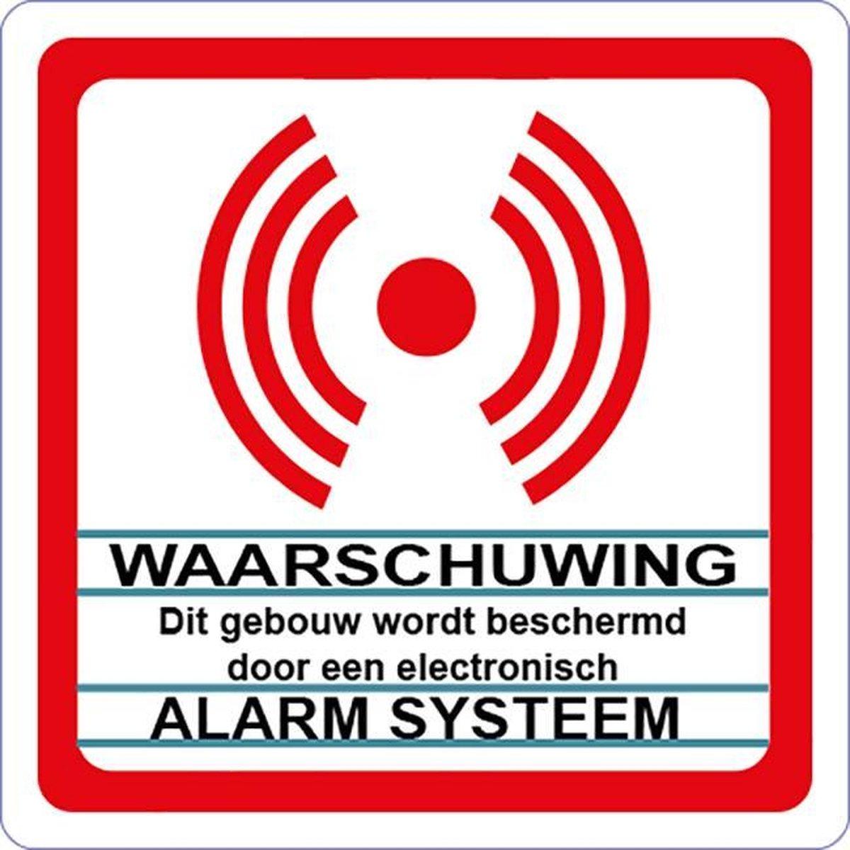 Beveiligingsstickers. Alarm Systeem sticker. 12 stickers wit. ( achterkant plakt. ) 8 cm x 8 cm. - Promessa-Design