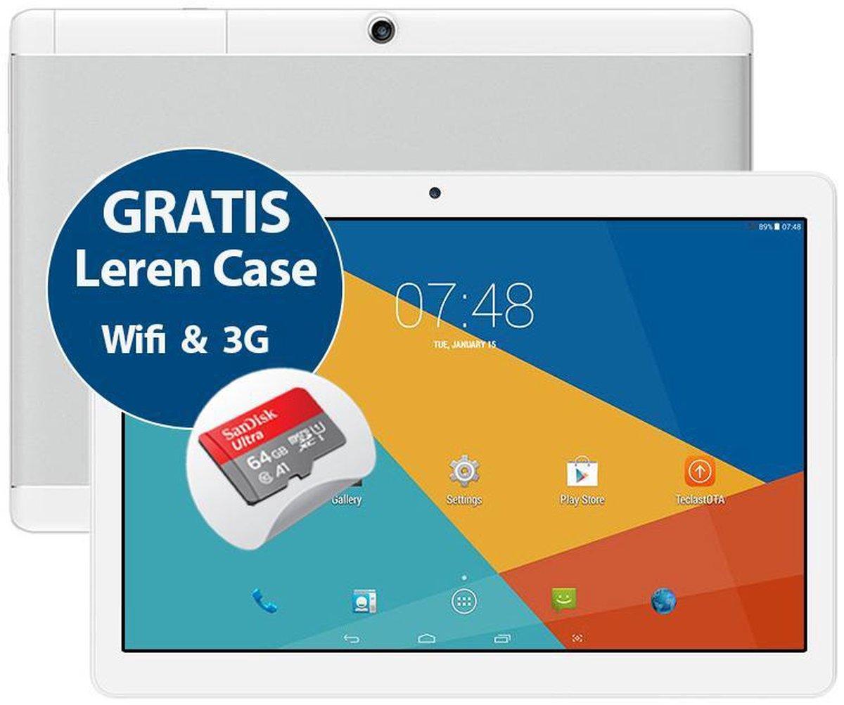 Tablet Sensation P10 10.1 inch Quad Core 16GB MTK6580 & GPS functie + 3G dual sim + Gratis Leren Beschermhoes + 64GB Sandisk A1 geheugenkaart
