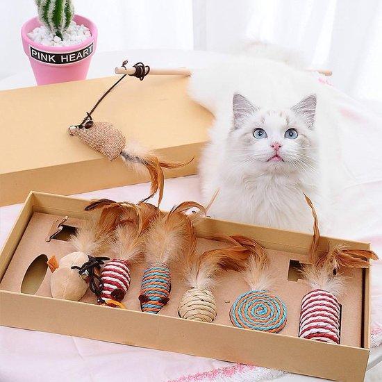 GIZMO Luxe Kattenspeeltjes Set - 7 Speeltjes - Interactieve Kattenhengel, Kattenspeelgoed & Speelmuisjes - Kitten Speeltjes