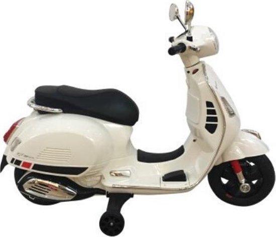 Kinder Vespa Wit Elektrische Kinderscooter Scooter + muziek + spiegels + licentie + verlichting
