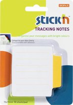 Tracking/index Note Stick'n 70.2x70.2mm, gelijnd, geel bedrukt, 50 vel
