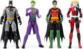 Batman 4 Pack van 30 cm Speelfiguren Batman, Robin, Joker en Harley Quinn