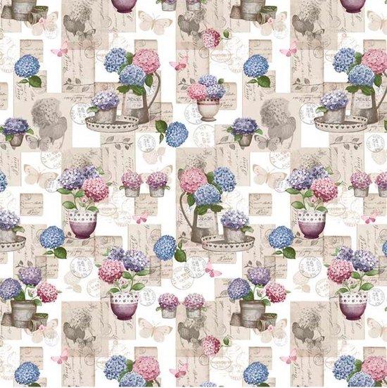 Bonita Tafelzeil - 160 cm rond - Creme - Flowers