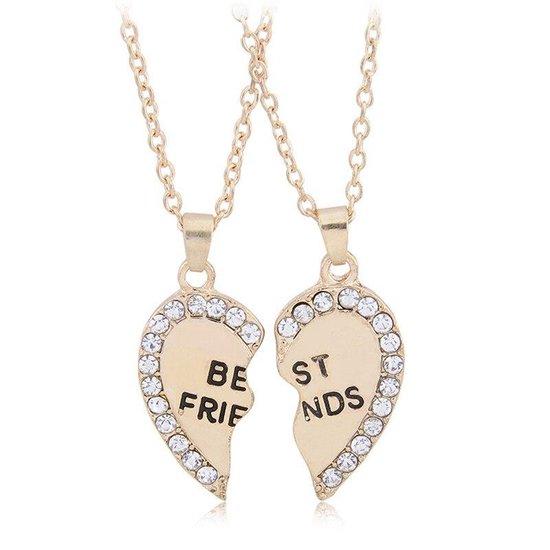 Kasey - Vriendschapsketting - BFF ketting voor 2 - Goudkleurig hart met steentjes
