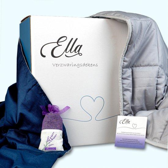 Ella Verzwaringsdeken 9 kg 150 x 200 cm - Weighted Blanket 9kg - Verzwaarde deken - Kalmeringsdeken - Inclusief: Grijs & Blauw 100 % Katoen Overtrek