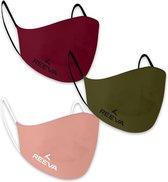 Reeva mondkapje - mondmasker - 3 pak - (groen, rood, roze)