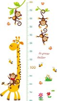 Muursticker kinderkamer giraffe met aapjes groeimeter - Decoratie kinderkamer / babykamer jongens & meisjes - Dieren sticker - Multicolor