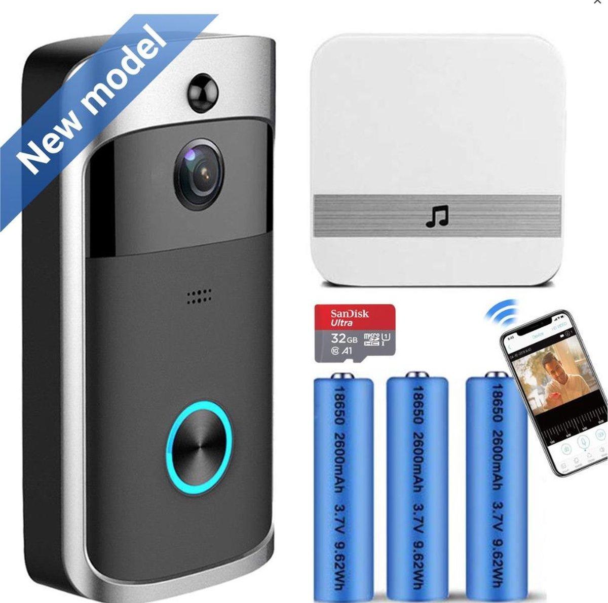 Deurbel met camera - Slimme Video Deurbel Draadloos HD - 2,4GHz - Wifi