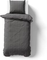 Dekbedovertrek Satijn Streep - hotel katoen satijn - 1-Persoons 140x200cm + 1x Kussensloop - Antraciet