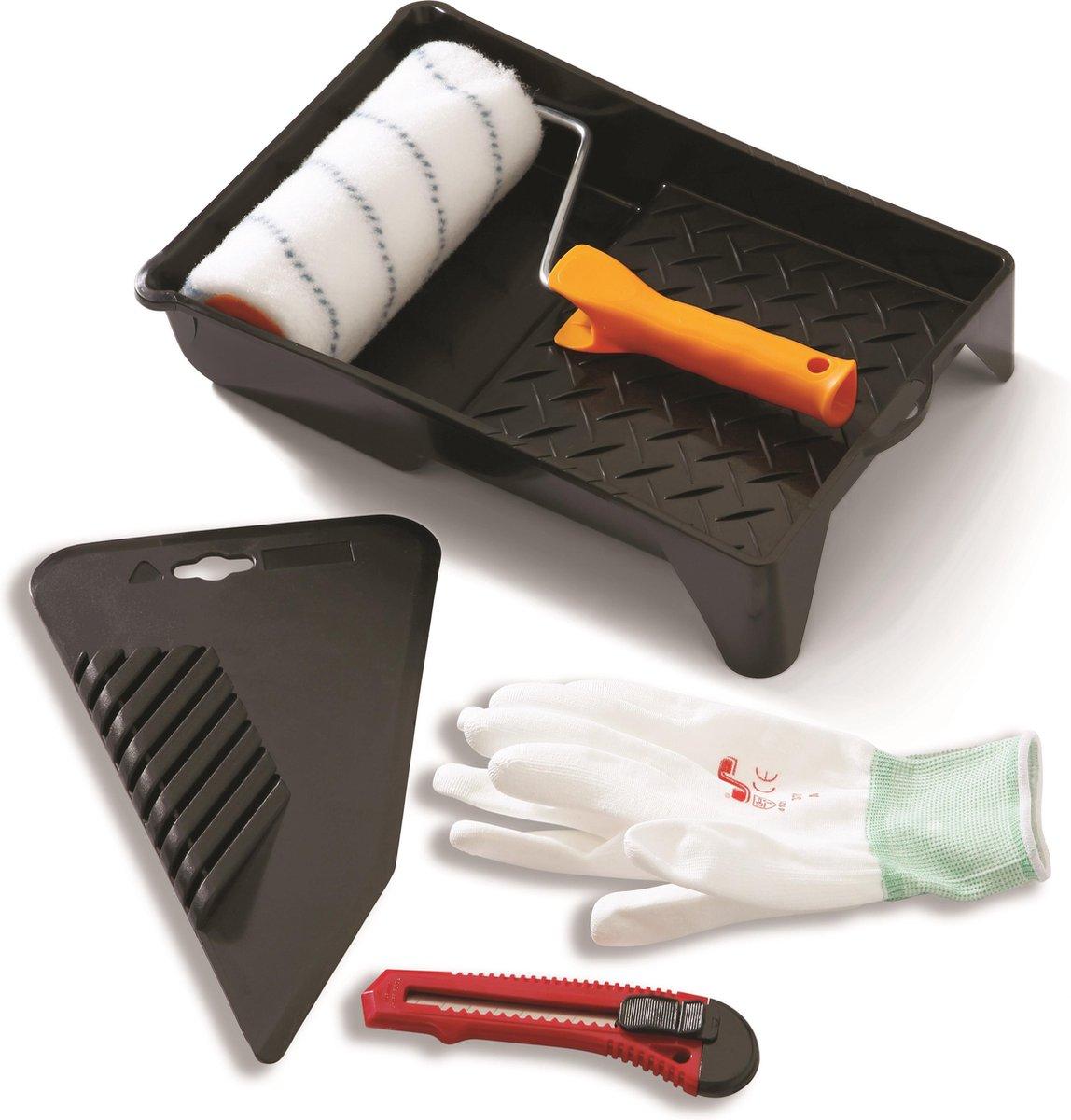 Glasvezelbehang Set - 5-delig - 1 lijmroller - 1 behang/textielstrijker - 1 afbreekmes - 1 verfbak -