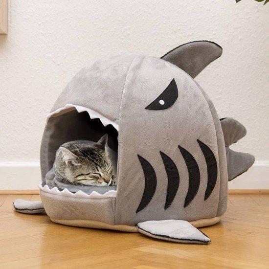 MikaMax Haai Kattenmand - Dierenmand - Kattenhuis - Kattenkussen - Hondenmand - 41 x 41 x 36 cm - Grijs