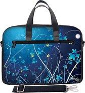 Laptoptas 15,6 / schoudertas blauwe bloemen - Sleevy - laptoptas - schooltas