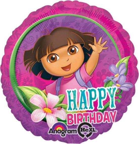 Folieballon dora Happy birthday 43cm