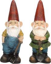 2x Tuinkabouter beelden Harold met hark en Sam met schop/schep 29 cm - Tuindecoratie/tuinversiering kabouters beelden