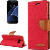 GOOSPERY CANVAS DAGBOEK voor Samsung Galaxy S7 canvas textuur horizontale flip lederen tas met kaartsleuven en portemonnee en houder (rood)