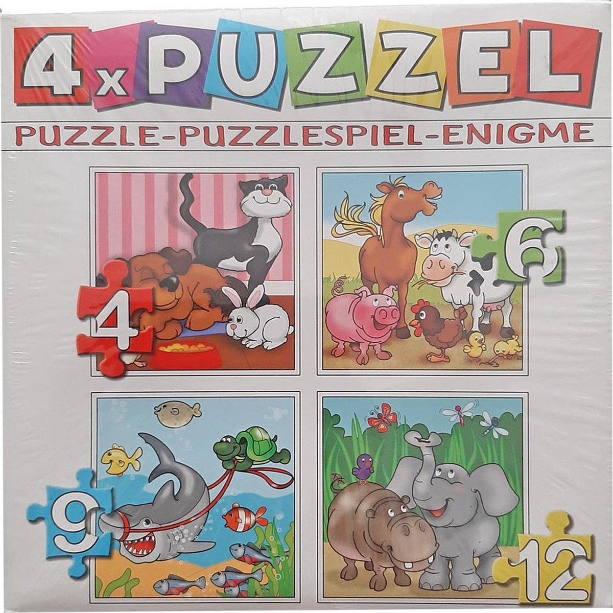 4 puzzels in 1 voor kinderen - Dieren