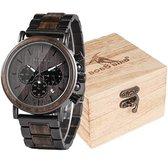 Victorious Donkerbruin Zebrahout Met Staal Heren Horloge Wood Collections - Ø44mm