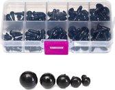 100x (50 paar) Veiligheidsoogjes in verschillende maten. 6, 7, 8, 10 en 12mm met witte sluitringen van hoge kwaliteit. Inclusief doosje.