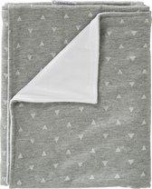 Cottonbaby wiegdeken driehoekjes grijs+velours wit voering 75x90 cm