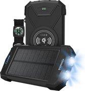 POWERplus Beluga Solar Powerbank 2 LED Zaklamp | 10.000 mAh powerbank met Qi draadloze lader en USB 2.0 en Type C uitgang