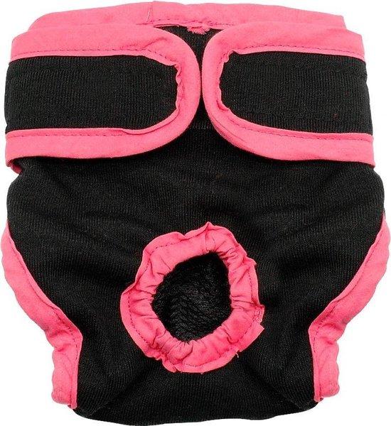 Luier voor hond voor incontinentie en loopsheid - Hondenluier Teef - maat L - zwart/roze