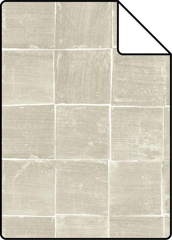 ESTAhome A4 staal van behang tegelmotief glanzend donker beige - 148316 - 21 x 26 cm