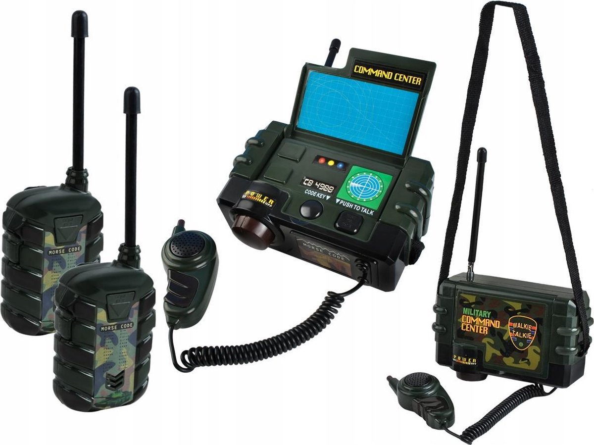 Complete Kinder Walkie Talkie Set - Met Mobiel Militair Radio Commandocentrum & 2x Portofoon - Speelgoed Walky Talky - Outdoor Walkietalkie Set - Tot 3 Personen Geschikt
