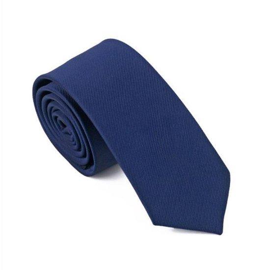 Skinny stropdas donkerblauw - echt zijde