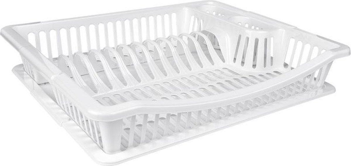 Wit kunststof afdruiprek met lekbak 36 cm - Huishoudelijke artikelen - Afwasrekken