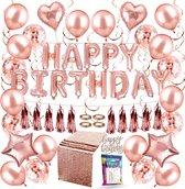 Fissaly® 66 Stuks Rose Goud Verjaardag Decoratie Versiering met Ballonnen – Feest – Roze – Helium