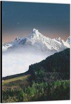 Dibond –Witte Bergtoppen – 30x40 Foto op Aluminium (met ophang)