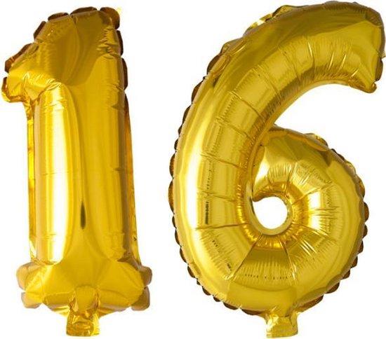 Folieballon nr. 16 Goud 41cm