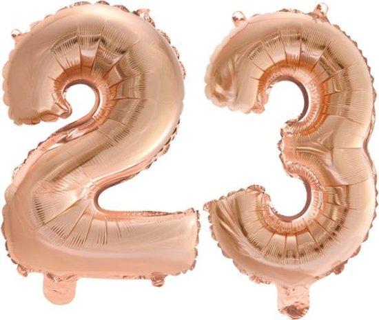 Folieballon nr. 23 Rosé Rosé Goud 41cm
