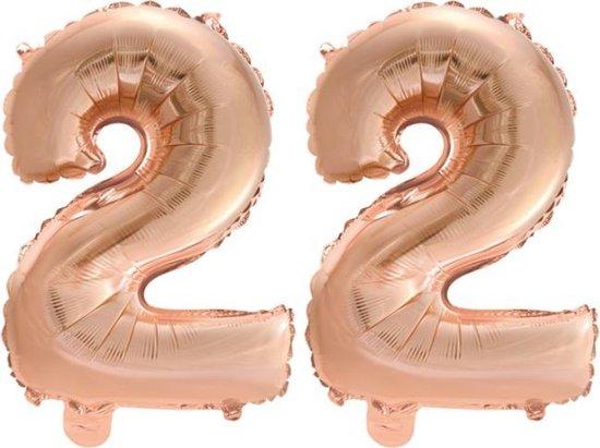 Folieballon nr. 22 Rosé Rosé Goud 41cm