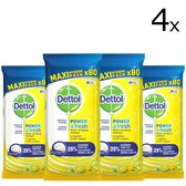 Dettol Multi-Reiningingsdoekjes Power&Fresh Citrus 4 x 80 stuks